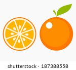 Orange Fruit With Leaf And...