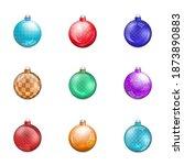 glossy christmas tree toys... | Shutterstock . vector #1873890883