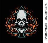 flaming skull tattoo vector...   Shutterstock .eps vector #1873893376