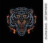 flaming wolf tattoo vector...   Shutterstock .eps vector #1873894840