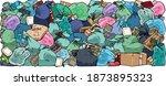 garbage bags. big pile of trash ...   Shutterstock .eps vector #1873895323