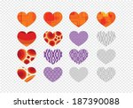 heart abstract icons signs and... | Shutterstock .eps vector #187390088