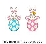 cute kawaii bunny sitting on an ...   Shutterstock .eps vector #1873907986