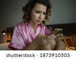 drunk woman in depression is in ... | Shutterstock . vector #1873910503