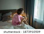 drunk woman in depression is in ... | Shutterstock . vector #1873910509