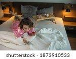 drunk woman in depression is in ... | Shutterstock . vector #1873910533