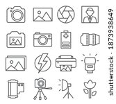 photo line icons set on white... | Shutterstock . vector #1873938649