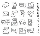 message line icons set on white ... | Shutterstock . vector #1873938823