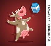 funny vector cow with milk | Shutterstock .eps vector #187394066
