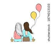 blonde and brunette sitting...   Shutterstock .eps vector #1874013103