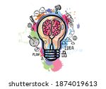 light bulb with brain and...   Shutterstock .eps vector #1874019613