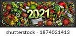 2021 cartoon cute doodles new... | Shutterstock .eps vector #1874021413