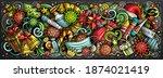 cartoon cute doodles new year... | Shutterstock .eps vector #1874021419