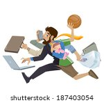 cartoon super busy man and... | Shutterstock .eps vector #187403054
