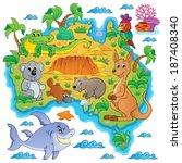 australian map theme image 3  ...   Shutterstock .eps vector #187408340