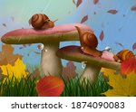 Snails On The Mushroom In...