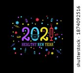 funny new year in covid 19... | Shutterstock .eps vector #1874092516