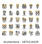 set of family thin line and... | Shutterstock .eps vector #1874116429
