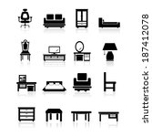 furniture icon set | Shutterstock .eps vector #187412078