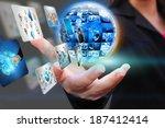 hand holding business world  | Shutterstock . vector #187412414