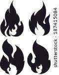 set of 4 black fires for design ... | Shutterstock .eps vector #187415084