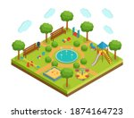 isometric kid playground with...   Shutterstock .eps vector #1874164723