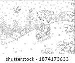 happy little boy sledding down... | Shutterstock .eps vector #1874173633
