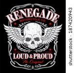 renegade winged skull graphic | Shutterstock .eps vector #187420943