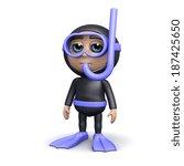 3d render of a diver standing...   Shutterstock . vector #187425650