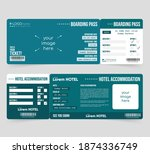 cruise boarding pass and hotel...   Shutterstock .eps vector #1874336749