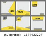 yellow and gray minimal square... | Shutterstock .eps vector #1874433229