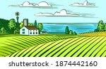 rural meadow. a village...   Shutterstock .eps vector #1874442160