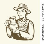beautiful young woman with jug... | Shutterstock .eps vector #1874445946