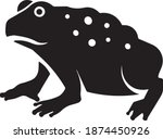 This vector image shows a cane toad icon in glyph style. It is isolated on a white background.