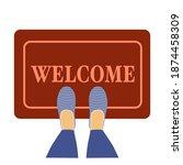 welcome doormat with blue shoes ... | Shutterstock .eps vector #1874458309