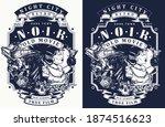 noir detective and retro woman... | Shutterstock .eps vector #1874516623