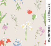flowers on ivory background... | Shutterstock .eps vector #1874561293