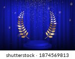 blue curtain  laurel twigs... | Shutterstock .eps vector #1874569813