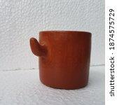 Terracotta Pot On White...
