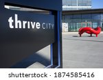 Small photo of San Francisco, CA, USA - Feb 9, 2020: The Thrive City sign is seen at the Chase Center in Mission Bay, San Francisco. Thrive City is a dynamic community gathering space created by Kaiser Permanente.