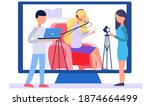 girl on the screen reads the... | Shutterstock .eps vector #1874664499