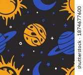 space seamless pattern.... | Shutterstock .eps vector #1874677600