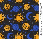space seamless pattern.... | Shutterstock .eps vector #1874677609