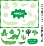 green color. cut the elements... | Shutterstock .eps vector #1874681986