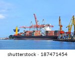 container stack and ship under... | Shutterstock . vector #187471454
