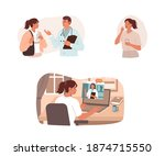 patient has a consultation with ... | Shutterstock .eps vector #1874715550