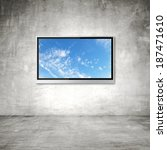 wide screen tv with sky on wall ... | Shutterstock . vector #187471610