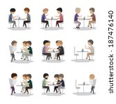 group of friends in cafe  ... | Shutterstock .eps vector #187476140