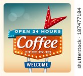 retro neon sign coffee in the... | Shutterstock .eps vector #187477184