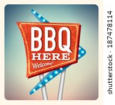 retro neon sign bbq lettering... | Shutterstock . vector #187478114